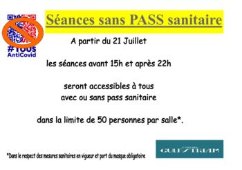 SEANCES SANS PASS SANITAIRE